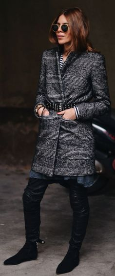 Grey Belted Boyfriend Coat by MAJA WYH