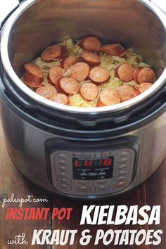 Paleo Instant Pot Kielbasa with Sauerkraut and Potatoes This recipe is a hearty real-food dinner, with minimal prep time. The potatoes are optional, you can skip them or swap them out for other root vegetables. Or simply add more sauerkraut. Kielbasa, Sausage Sauerkraut, Diet Food To Lose Weight, Weight Loss Meals, Paleo Recipes Easy, Real Food Recipes, Cooking Recipes, Cooking Ribs, Instant Pot Pressure Cooker