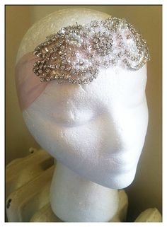 Summer DECO Crystal and Pearl Headpiece/Headband-Different Color Silks Available-Vintage Bride 1920s Wedding The Great Gatsby