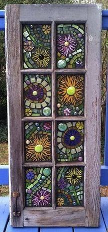 Stained Glass Mosaic Windows see more at this site Mosaic Crafts, Mosaic Projects, Stained Glass Projects, Stained Glass Art, Stained Glass Windows, Fused Glass, Mosaic Glass Art, Window Glass, Garden Projects