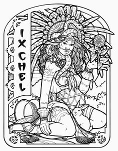 Ix Chel - Mayan Goddess of Marriage, Fertility, Creativity and Childbirth by Renée Yates-McElwee #coloringbook