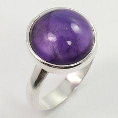 Trendy Ring Size UK L1/4 Genuine AMETHYST Gemstone 925 Sterling Silver Wholesale #SunriseJewellers #Fashion