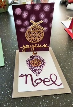 carte pull'up Noël, ravissants ornements, stampin'up