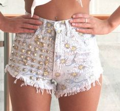Summer Outfit - Gold Studded Daisy Shorts - Crop Top