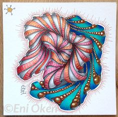 Eni Oken is an award winning artist with 30 years of experience, writing about Zentangle®, Shading, Fantasy design and Jewelry making. Mandala Doodle, Doodles Zentangles, Zen Doodle, Zentangle Patterns, Doodle Art, Zentangle Drawings, Art Patterns, Modern Art Paintings, Oil Paintings