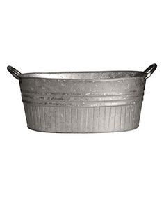 This Galvanized Steel-Handle Oval Planter Tub is perfect! #zulilyfinds
