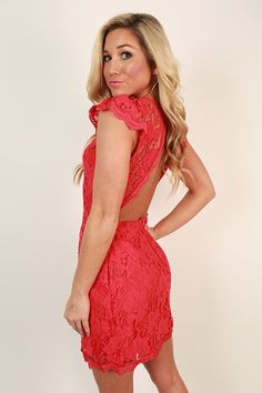 Queen's Lace Mini Dress in Red