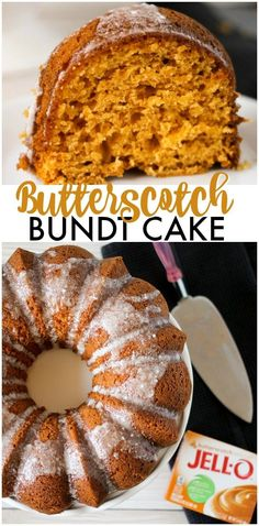 #ad Butterscotch Bundt Cake is a moist and flavorful bundt cake made with the help of a cake mix and JELL-O pudding. Perfect for the holiday table! | www.persnicketyplates.com #JELLOCreations @KraftJELLO