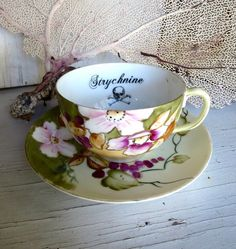 Poison Tea Cup Belladonna Altered vintage china Purple Pink Nippon Flowers on Etsy, $38.00