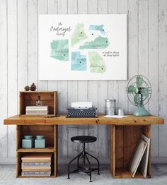 This could make an awesome wedding gift, or gift for newlyweds! Family Map Art Watercolor Map Family Wall Art for by MDBWeddings