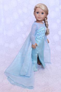 "Frozen Elsa Costume Dress For 18"" American Girl Dolls- 4 Piece Gown Ensemble"
