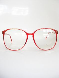 e09917ac12e Vintage CHERRY RED Glasses Eyeglasses ROUND 1980s Sunglasses Oversized  Eighties Large Indie Hipster