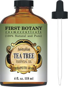 Tea Tree Oil (Australian) 4 Fl.oz. with Glass Dropper By First Botany Cosmeceuticals. 100 % Pure and Natural Premium Quality - A Classified Therapeutic Essential Oil- Legion Dermatological Benefits - Unadulterated, Concentrated Extract Natural Antiseptic - A Refined and Known Solution to Help in Fighting Dandruff, Acne, Toenail Fungus, Yeast Infections, Cold Sores and More... -- Read more  at the image link.