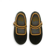 Chaussons en velours gris - Chaussons Filles - BONTON 1