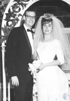 Mr. and Mrs. Robert Adams at St. John United Church of Christ, wedding photo.; #kentonlibrary #facesandplaces