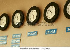 use inexpensive Ikea clocks for this.. clocks with different time zones classroom