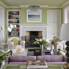 Lime Green And Lavender Living Room