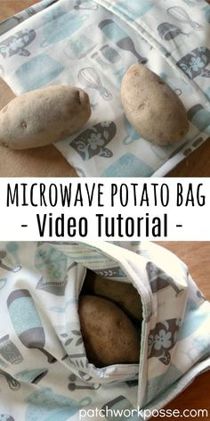 Potato Microwave Bag with Video Tutorial - Learn how to make a microwave potato bag. Great for using and cooking potatos quick.Learn how to make a microwave potato bag. Great for using and cooking potatos quick. Easy Sewing Projects, Sewing Projects For Beginners, Sewing Hacks, Sewing Tutorials, Sewing Crafts, Sewing Tips, Sewing Ideas, Bag Tutorials, Yarn Crafts