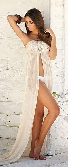 follow me @cushite Elan Crochet Top Beach Cover-Up Maxi                                                                                                                                                                                 Más