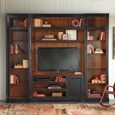 French furniture designer Felix Monge adapts vintage design to modern technology executing with exacting craftsmanship a practical versatile piece ideal for flatscreen plasma TVs up to Double bookcases with fixed and adjustable shelves flank the ce French Furniture, Unique Furniture, Furniture Decor, Furniture Design, Shelves Under Tv, Wall Shelves, Shelf, Tv Nook, Reclaimed Furniture