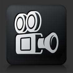 Black Square Button with Film Camera Icon vector art illustration