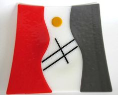 Fused Glass Plate Large Platter Orange Gray Square Centerpiece