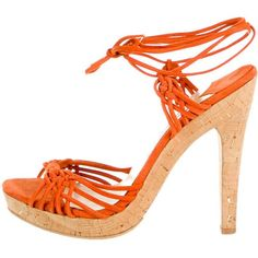 95b1f7a9825 Orange suede Jimmy Choo sandals with braid accent at toe box