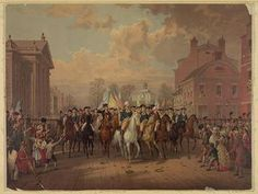 Washington leading his army into Manhattan in the fall of 1783