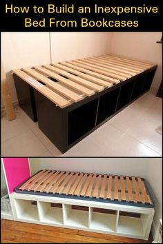 Using bookcases as a bed frame is one easy way to build a bed with storage. Diy Bed Frame, Bed Frames, Making A Bed Frame, Mobilia, Bedroom Storage Ideas Diy, Bedroom Storage For Small Rooms, Decorating Small Bedrooms, Ikea Small Bedroom, Beds For Small Rooms
