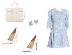 """""""360 outfit"""" by julieannbb13 ❤ liked on Polyvore featuring Manolo Blahnik, Tiffany & Co. and Yves Saint Laurent"""