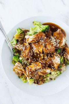 Slow cooker sesame garlic chicken - make it at home instead of getting takeout!