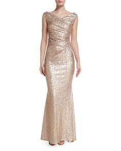 Sleeveless+Iridescent+Mermaid+Gown,+Nude+by+Talbot+Runhof+at+Neiman+Marcus.