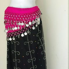 Hip scarf for belly dancing NWT Red with gold   coins pink with silver coins purple with silver beads 65 inches long each. 2 for $30 Accessories Scarves & Wraps