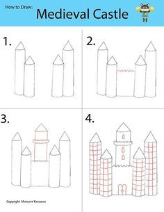 Medieval Castle: Use a blueprints Painting Lessons, Drawing Lessons, Art Lessons, Medieval Castle, Medieval Art, Doodle Drawings, Easy Drawings, Drawing For Kids, Art For Kids