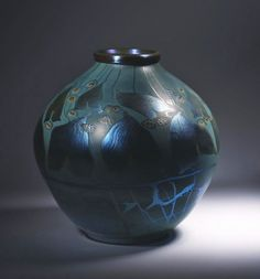 Vase, c. 1900 Blown glass, millefiori Tiffany Glass and Decorating Company Marks: Louis C. Tiffany R 4017 Tiffany Art, Tiffany Glass, Tiffany And Co, Steuben Glass, Louis Comfort Tiffany, Blue Daisy, Stained Glass Lamps, Pottery Art, Find Art