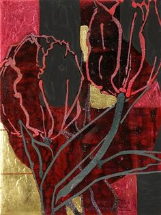 """Robert Kushner, """"Red tulip VI"""", '80s  -  Medium: oil, acrylic and gold leaf on canvas - Size: 40.5 x 30.5 cm. (15.9 x 12 in.)."""