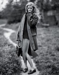 Balenciaga coat, $2,595. Our Legacy sweater, $285, ourlegacy.se. Céline skirt, $2,050, thewebstermiami.com. Prada bag, $3,700. Hermès shoes, $930.