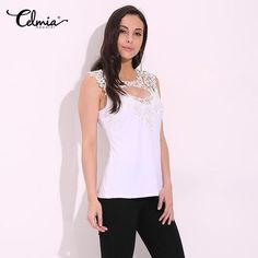 47769ce0306 2017 CELMIA Summer Women Sexy Sleeveless Blouse Lady Lace Crochet Hollow  Out Black White Tops Casual Shirts Plus Size Blusas