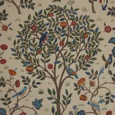 William Morris Curtain Fabric Kelmscott Tree 5 Metres for sale online William Morris, Morris Homes, Pleated Curtains, Bed Curtains, Pencil Pleat, Bird Tree, Arts And Crafts Movement, Curtain Fabric, Art Forms