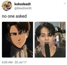 Omfg I am obsessed with Levi and I always wanted to see him in real life I've never realize it was Xiumin my bias?!?!?