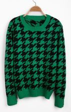 Green Long Sleeve Houndstooth Pullover Sweater $29.84 #SheInside
