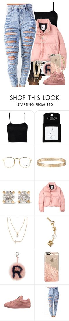 """neon hitch- no hands"" by thaofficialtrillqueen ❤ liked on Polyvore featuring Boohoo, Topshop, Ray-Ban, Cartier, Anita Ko, Y-3, Crislu, Valentino, Fendi and Casetify"