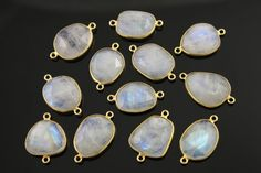 Natural Rainbow Moonstone Faceted Oval Connector 24K by Beadspoint
