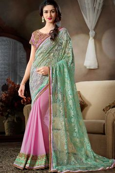 Pink Chiffon Georgette Party Wear Saree