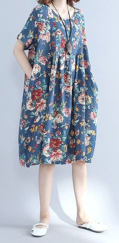 Details about Retro Women Maxi Floral Dress Plus Size Long Sleeves Loose Robe Dresses Tunic New women loose fit plus size retro flower pocket dress maxi tunic robe Linen Dresses, Cotton Dresses, Casual Dresses, Summer Dresses, New Dress Pattern, Dress Patterns, Batik Dress, Blouse Dress, Dress Plus Size