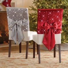 Best 12 The Cordless Twinkling Chair Back Sleeves – Hammacher Schlemmer Diy Christmas Decorations Easy, Christmas Tablescapes, Christmas Centerpieces, Crafts For Teens To Make, Diy And Crafts, Christmas Home, Christmas Crafts, Christmas Chair Covers, Chair Back Covers