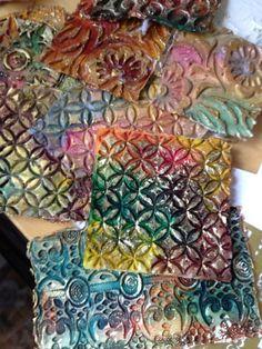 Beryl Taylor - modeling paste image using rubber stamp