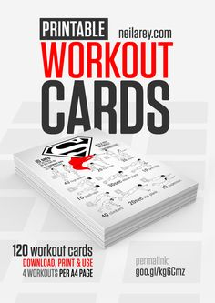 Free Workout Cards by Neila Rey / Download, print and use / 4 cards per A4 page
