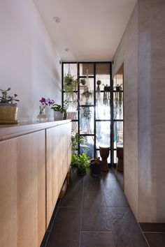 Image 5 of 20 from gallery of Nionohama Apartment House Renovation / ALTS Design Office. Photograph by Fuji-Shokai / Masahiko Nishida Custom Floating Shelves, Japanese Apartment, Open Living Area, Inside Plants, Home Porch, Contemporary Apartment, White Walls, Storage Spaces, Interior Decorating