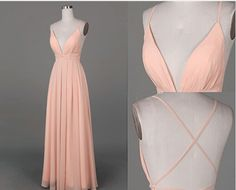 Image of Cute Pink Cross Back Long Simple Prom Dresses, Prom Dresses 2016, Evening Gowns